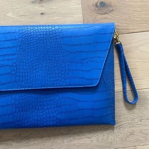 ASOS Blue Crocodile Large Envelope Bag